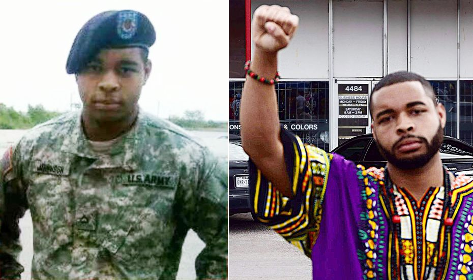 Army veteran Micah Johnson, the gunman, is shown when he was in the military and more recently displaying a common gesture of the Black Power movement, in a photo posted to his Facebook page.