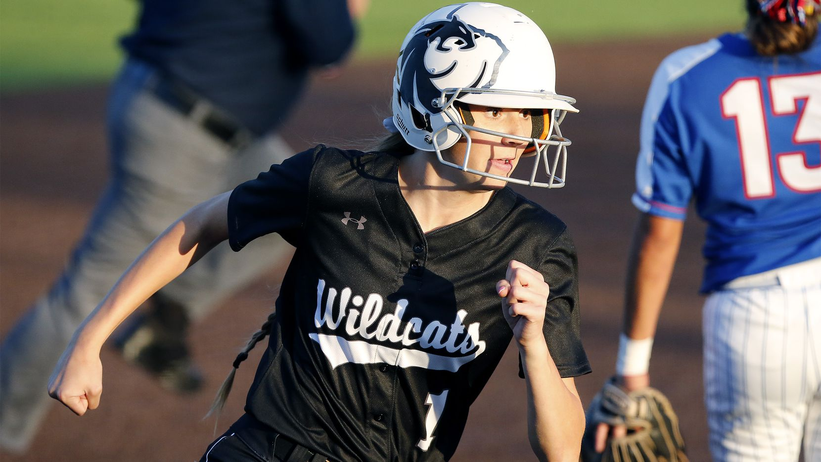 Denton Guyer shortstop Morgan Medford (1) rounds third base on her way to scoring the game's first run in the first inning as Duncanville High School played Denton Guyer High School in a one game area-round playoff softball game held at Carroll High School in Southlake on Friday, May 4, 2018. (Stewart F. House/Special Contributor)