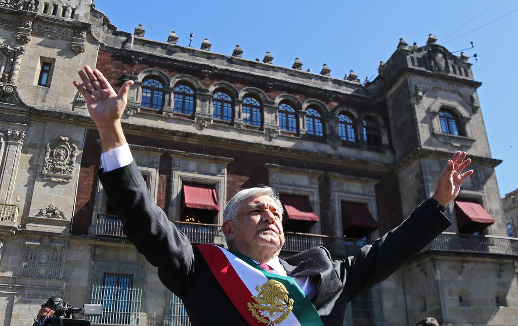 The new President of Mexico, Andres Manuel Lopez Obrador, arrives at the National Palace in Mexico City on Dec. 1, 2018.
