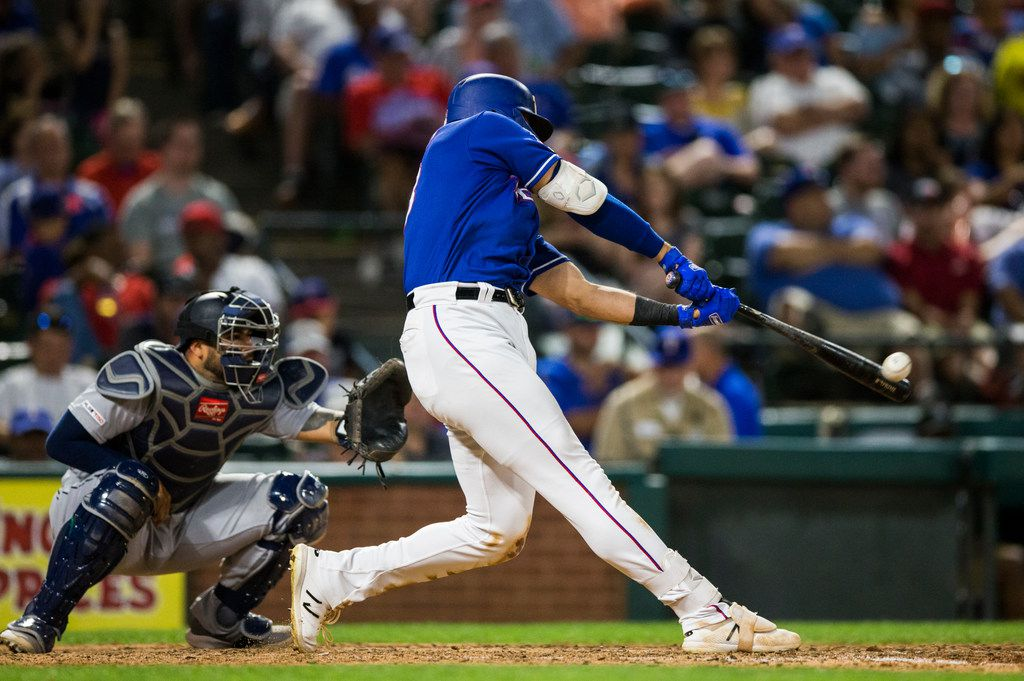 Texas Rangers center fielder Joey Gallo (13) hits a home run during the eighth inning of an MLB game between the Texas Rangers and the Seattle Mariners on Tuesday, May 21, 2019 at Globe Life Park in Arlington. (Ashley Landis/The Dallas Morning News)