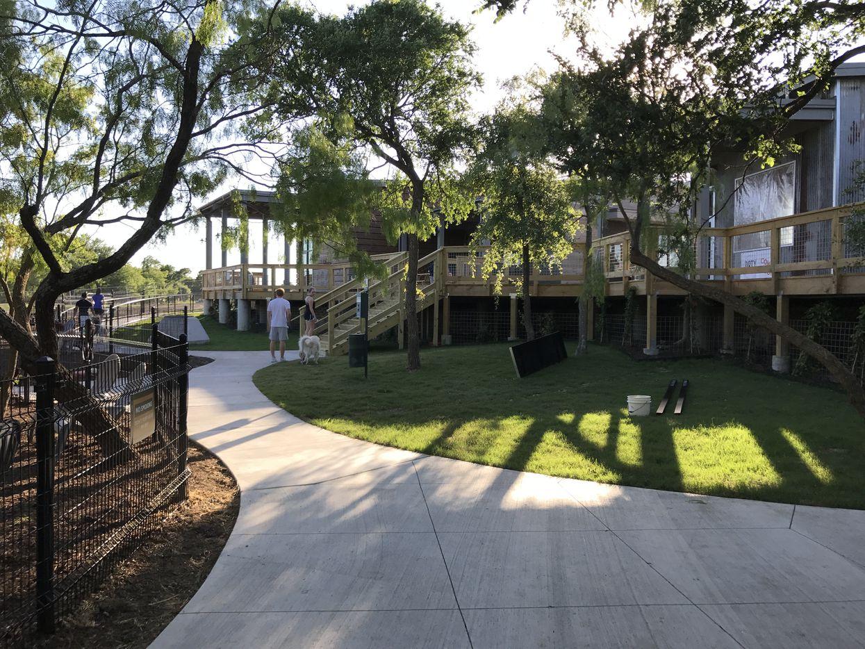 The Shacks restaurant park has decks and a dog park out back.