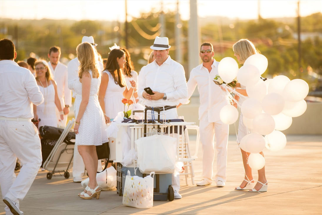 Patrons of Diner en Blanc Dallas were expected to carry everything they would need for dinner.