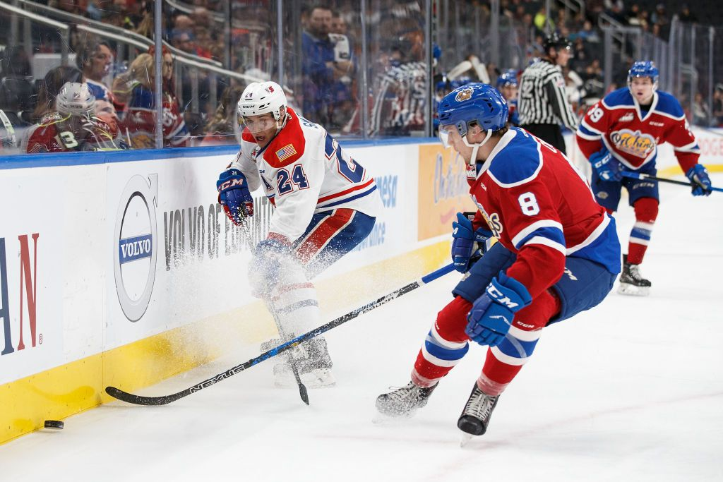 EDMONTON, AB - OCTOBER 22: Ethan Cap #8 of the Edmonton Oil Kings pursues Ty Smith #24 of the Spokane Chiefs at Rogers Place on October 22, 2017 in Edmonton, Canada. (Photo by Codie McLachlan/Getty Images)
