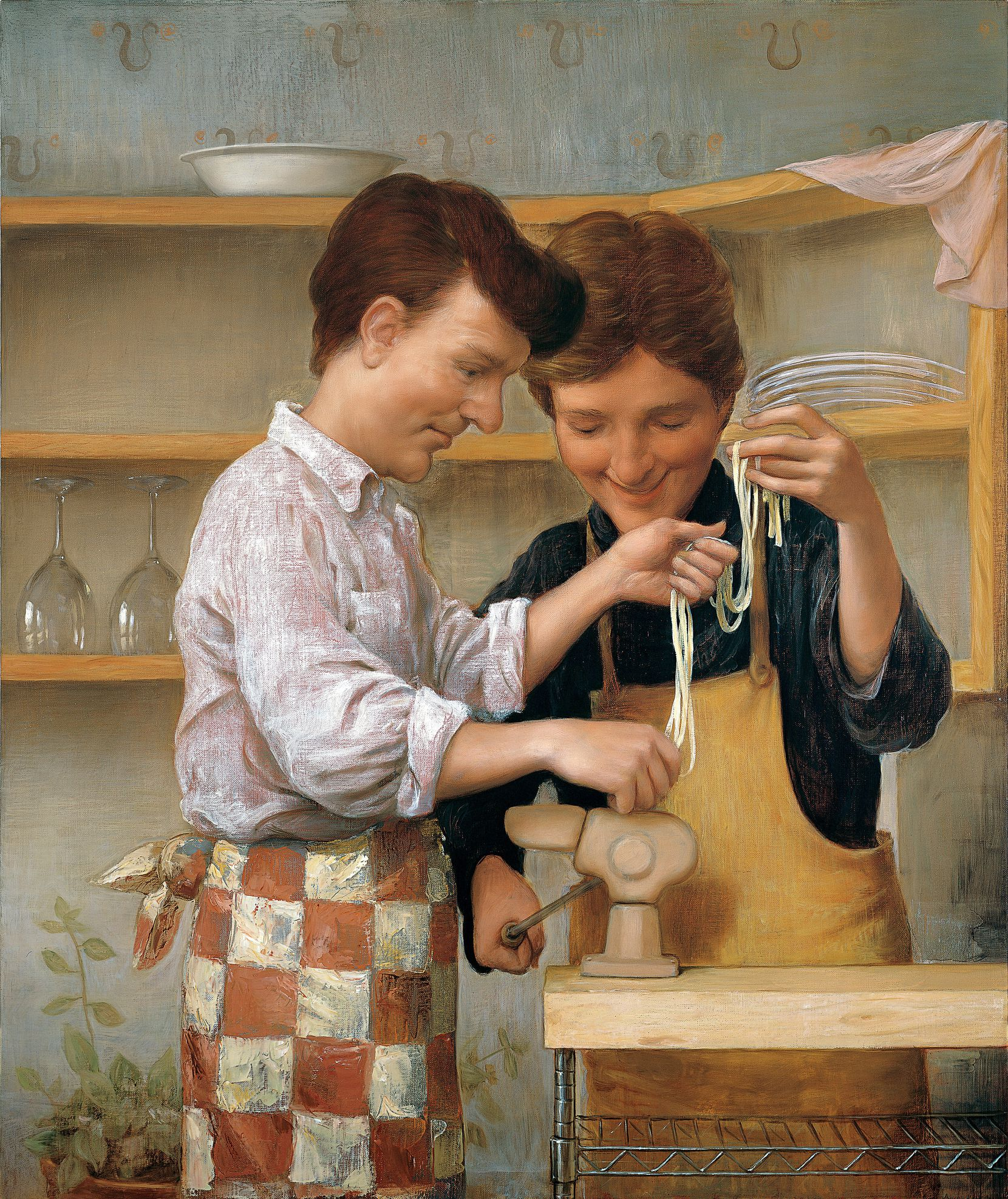 """John Currin's sweetest portrayal of masculinity comes when he paints two men together, as in """"Homemade Pasta,"""" 1999. (Oil on canvas. 50 x 42 inches.)"""