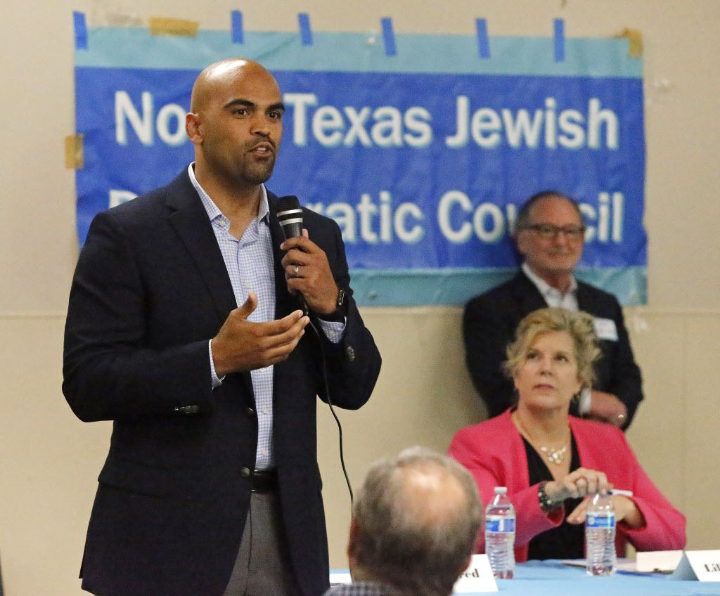 Candidate Colin Allred answers a question at a forum held by the North Texas Democratic Jewish Council at the Walnut Hill Recreation Center in Dallas April 23 as opponent Lillian Salerno looks on.