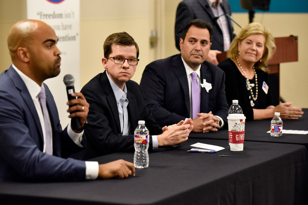 Collin Allred, left, Ed Meier, George Rodriguez and Lillian Salerno, far-right, all candidates for the 32nd US Congressional District speak during a community forum hosted by The Preston Hollow Democrats, Nov. 09, 2017 at the Walnut Hill recreation center in Dallas.