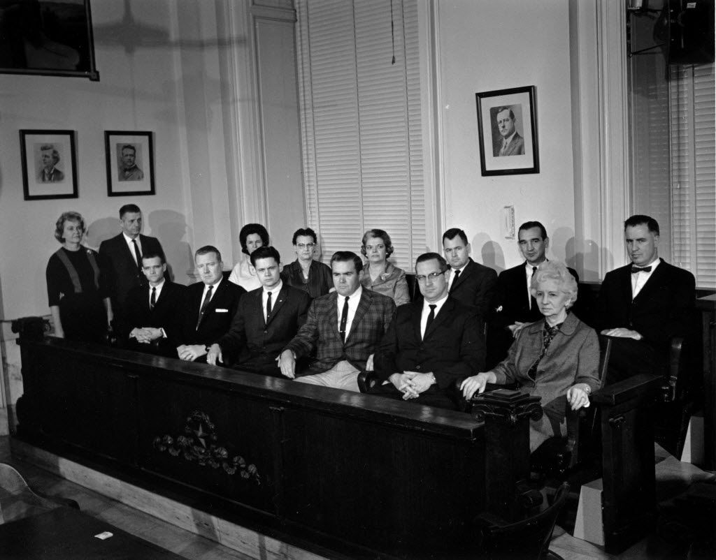 The selected jury for the Jack Ruby trial, which unanimously found him guilty.