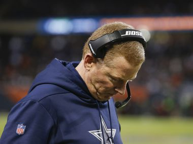 Dallas Cowboys head coach Jason Garrett reacts during the second half a NFL matchup between the Dallas Cowboys and the Chicago Bears on Thursday, Dec. 5, 2019, at Soldier Field in Chicago. (Ryan Michalesko/The Dallas Morning News)