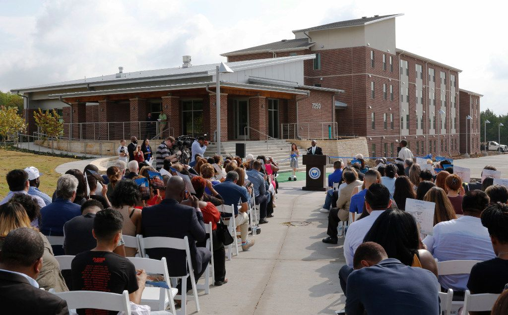 Dallas City Council member Tennell Atkins spoke at the opening of the University of North Texas at Dallas' first residence hall.