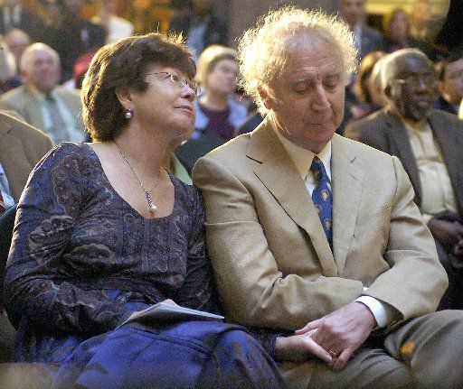 Actor Gene Wilder, right, holds hands with wife Karen as he is introduced to receive the Governor's Awards for Excellence in Culture and Tourism at the Legislative Office Building in Hartford, Conn., Tuesday, April 9, 2008.