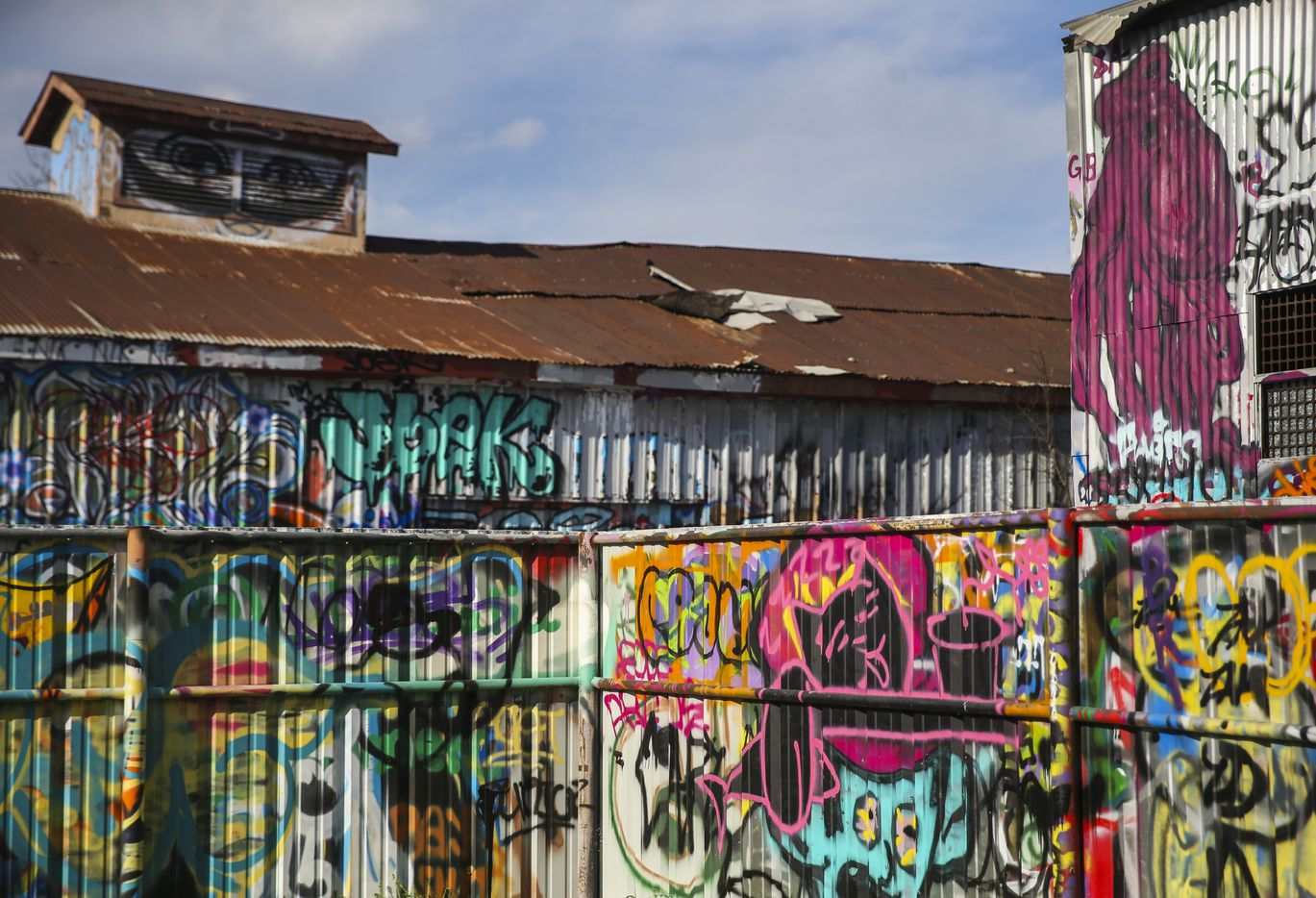The former metal stamping plant buildings are now a factory for street artists.