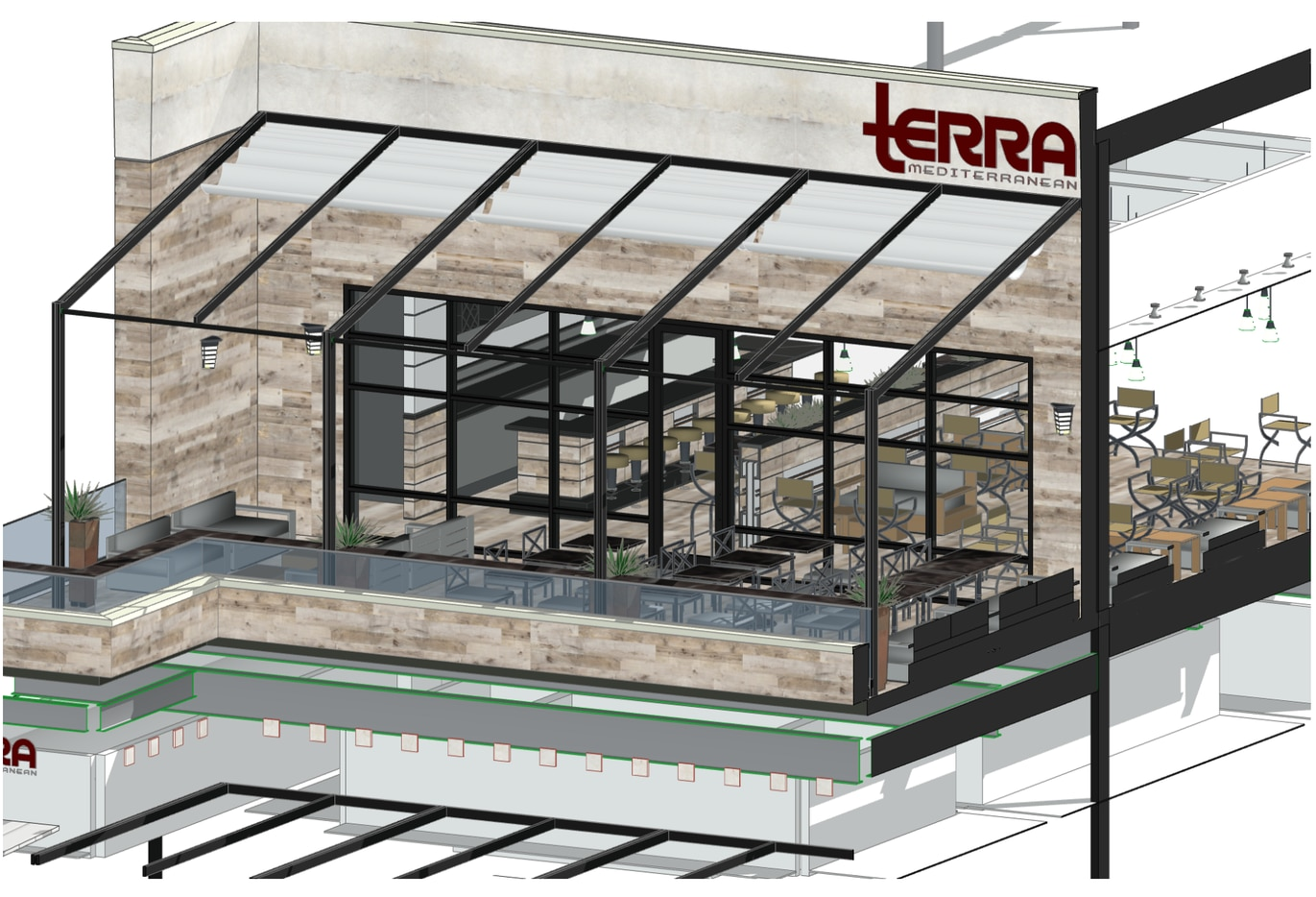 Here is the expected finished look at Terra Mediterranean Grill at The Shops at Willow Bend in Plano.