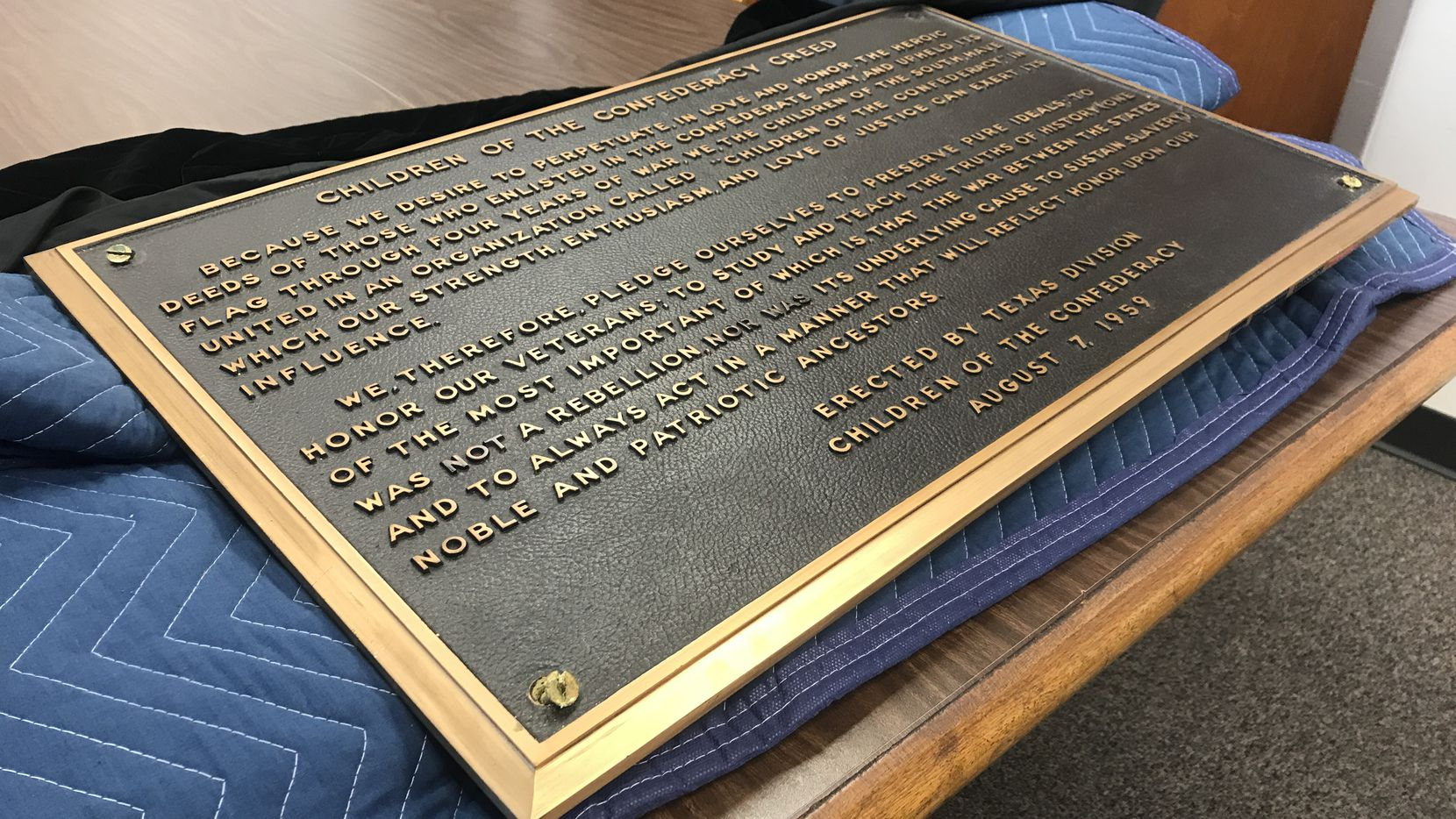 The Children of the Confederacy plaque is photographed on Jan. 14, 2019, two days after it was removed from the Texas Capitol, at the offices of the State Preservation Board in Austin, Texas
