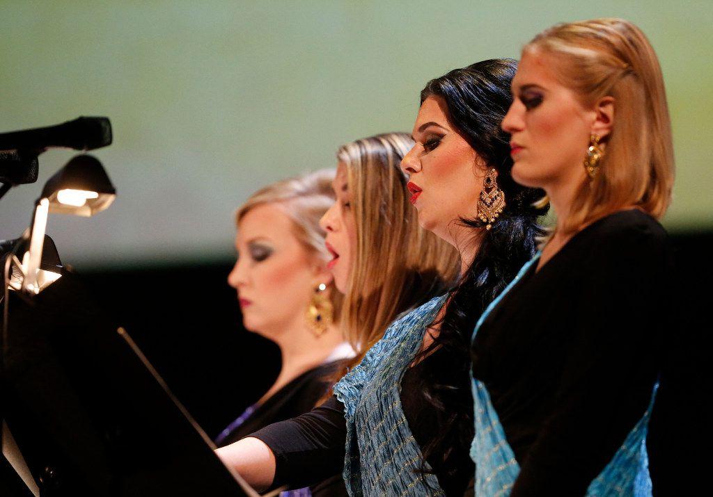 The quartet made up of (from left) Lindsay Ammann, Alyssa Martin, Audra Methvin and Katrina Galka sing during a dress rehearsal of Arjuna's Dilemma.