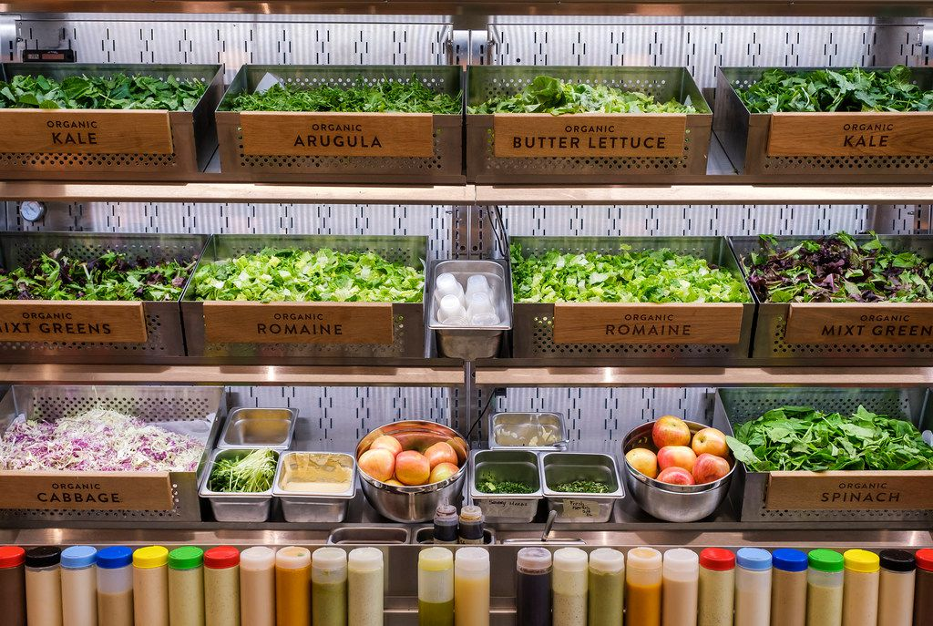 Ingredients including kale, arugula, butter lettuce, romaine, cabbage, spinach and Ã'mixtÓ greens at Mixt  in Uptown on Tuesday, May 7, 2019, in Dallas. (Smiley N. Pool/The Dallas Morning News)