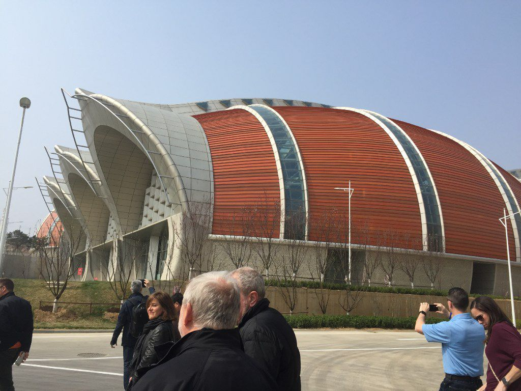 The newly opened wine production center from Changyu Pioneer Wine Company resembles a series of barrels on their sides. Based in the city of Yantai, the company intends to develop the northern China region into an internationally known wine city.
