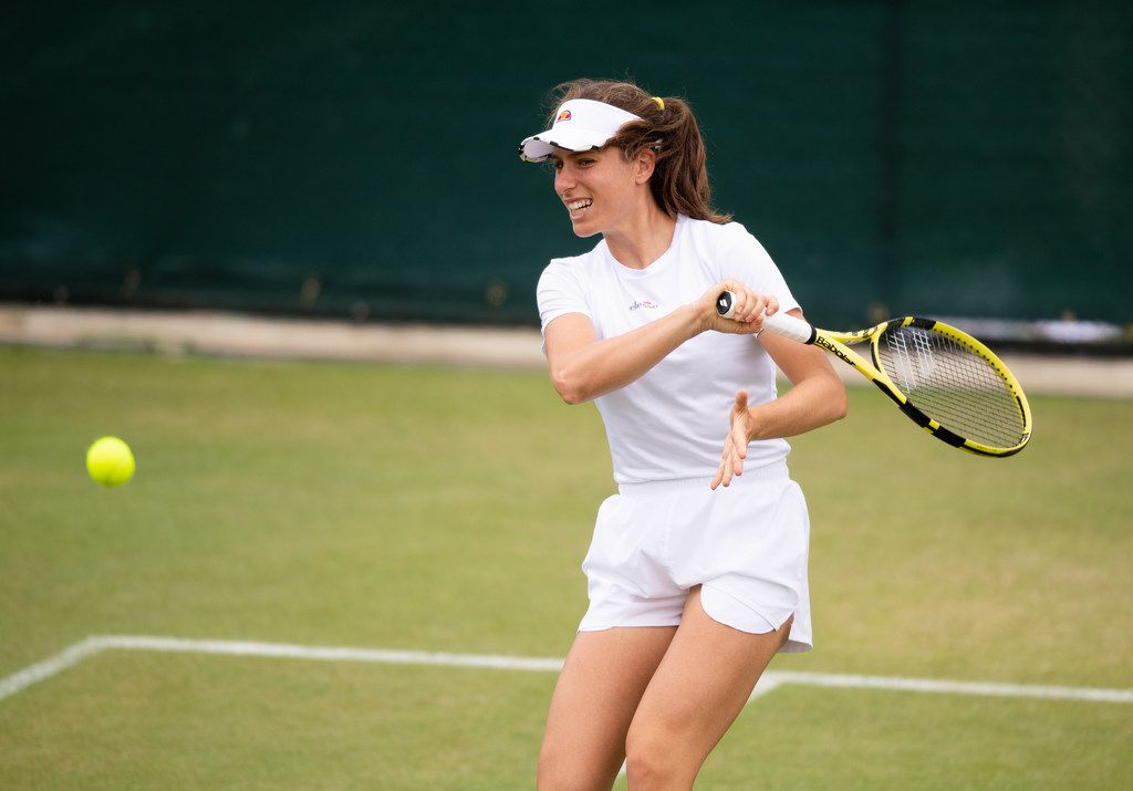 LONDON, ENGLAND - JULY 07: Johanna Konta of Great Britain in good spirits at a practice session before her fourth round match against Petra Kvitova of the Czech Republic during Middle Sunday of The Championships - Wimbledon 2019 at All England Lawn Tennis and Croquet Club on July 07, 2019 in London, England. (Photo by Matthias Hangst/Getty Images)