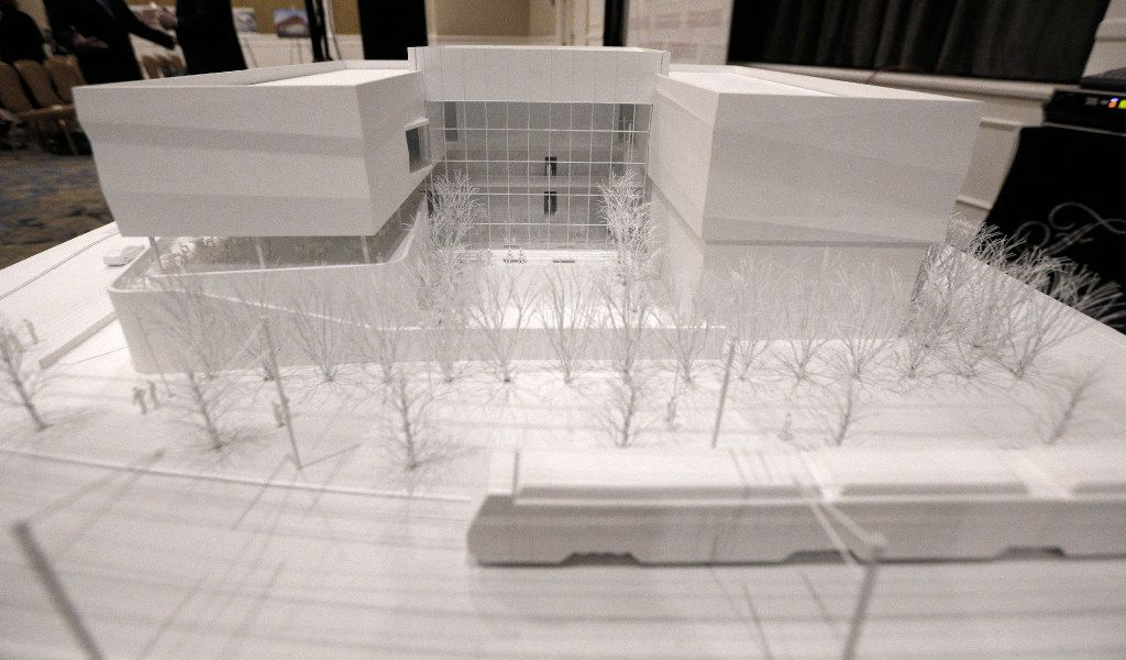 This is a model of the new Dallas Holocaust and Human Rights Museum, which is expected to begin construction in the West End in 2018. (Nathan Hunsinger/Staff Photographer)