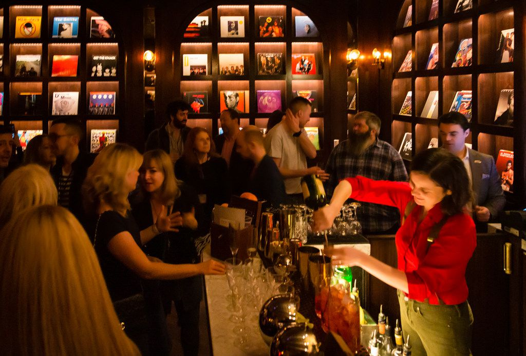You'll find a secret bar called Vinyl Parlor tucked behind an unmarked door in On the Record, a vibrant nightclub inside Park MGM. Bartenders create drinks based on songs from the room's vinyl album collection.