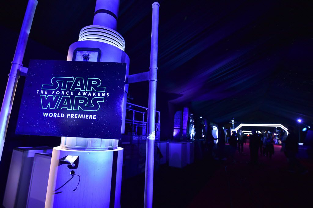 """A view of atmosphere at the world premiere of """"Star Wars: The Force Awakens"""" at the TCL Chinese Theatre on Monday, Dec. 14, 2015, in Los Angeles."""