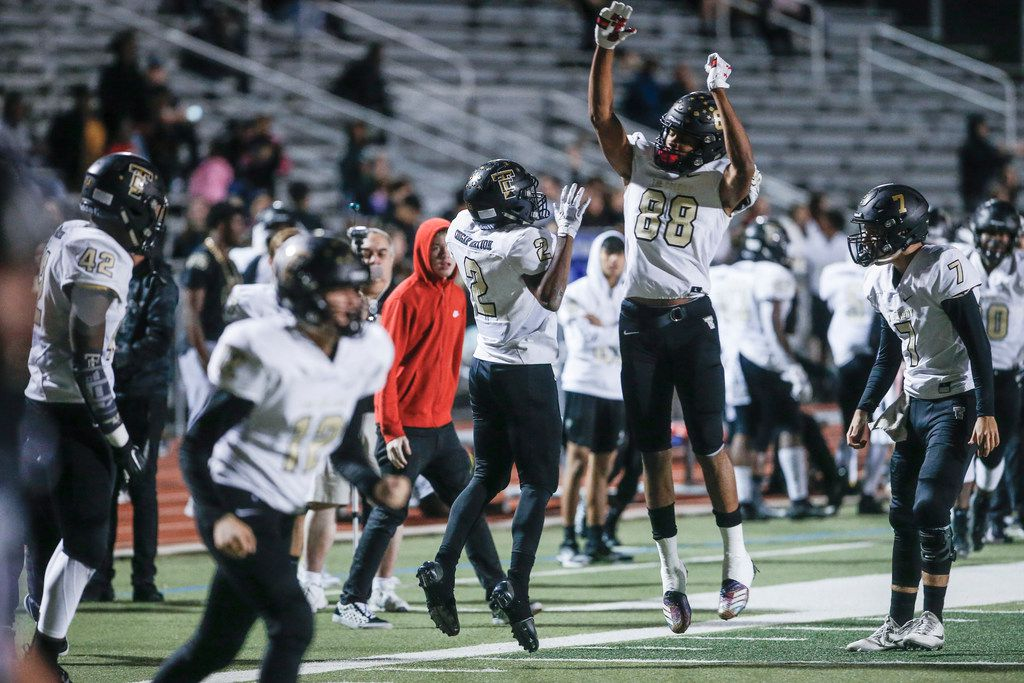 The Colony junior running back Myles Price (2) is congratulated by junior wide receiver Keith Miller (88) after scoring a touchdown during the first half of a high school football game against Frisco Independence at Memorial Stadium in Frisco, Friday, November 2, 2018. (Brandon Wade/Special Contributor)