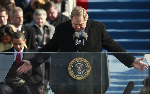Rick Warren delivers the invocation during President Barack Obama's Inauguration in Washington, D.C., on Jan. 20, 2009.