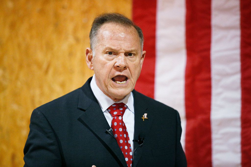 Former Alabama chief justice and U.S. Senate candidate Roy Moore speaks at a campaign rally in Dora, Ala. (File Photo/The Associated Press)