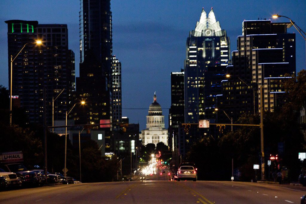 The Texas Capitol as seen from South Congress Avenue in Austin
