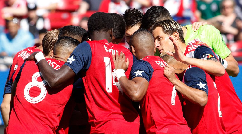 FC Dallas defender Reto Ziegler (3), right, shares a message with teammates just before the start of their home game against LA Galaxy. Ziegler and defender Matt hedges (24) are set to share the team captain duties this season. The two Major League Soccer teams played their game at Toyota Stadium in Frisco on March 9, 2019. (Steve Hamm/ Special Contributor) (NOTE: This image was requested by SPORTS and is being placed into the system for possible future use)