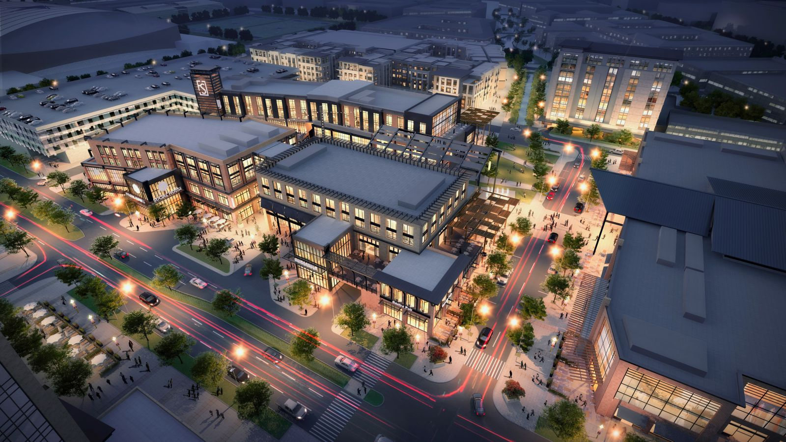 The SkyHouse Frisco apartment tower will be next to the Hub, Frisco Station's retail, restaurant and entertainment center.