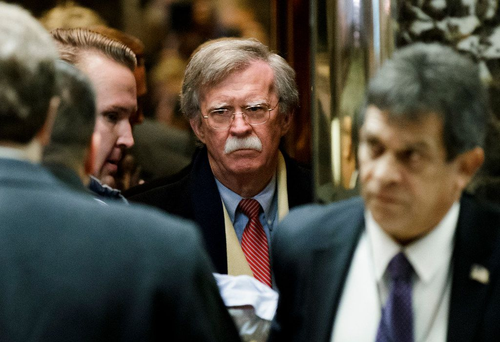 Former U.N. Ambassador John Bolton arrives for a meeting with President-elect Donald Trump at Trump Tower in New York in December 2016. (Abaca Press)
