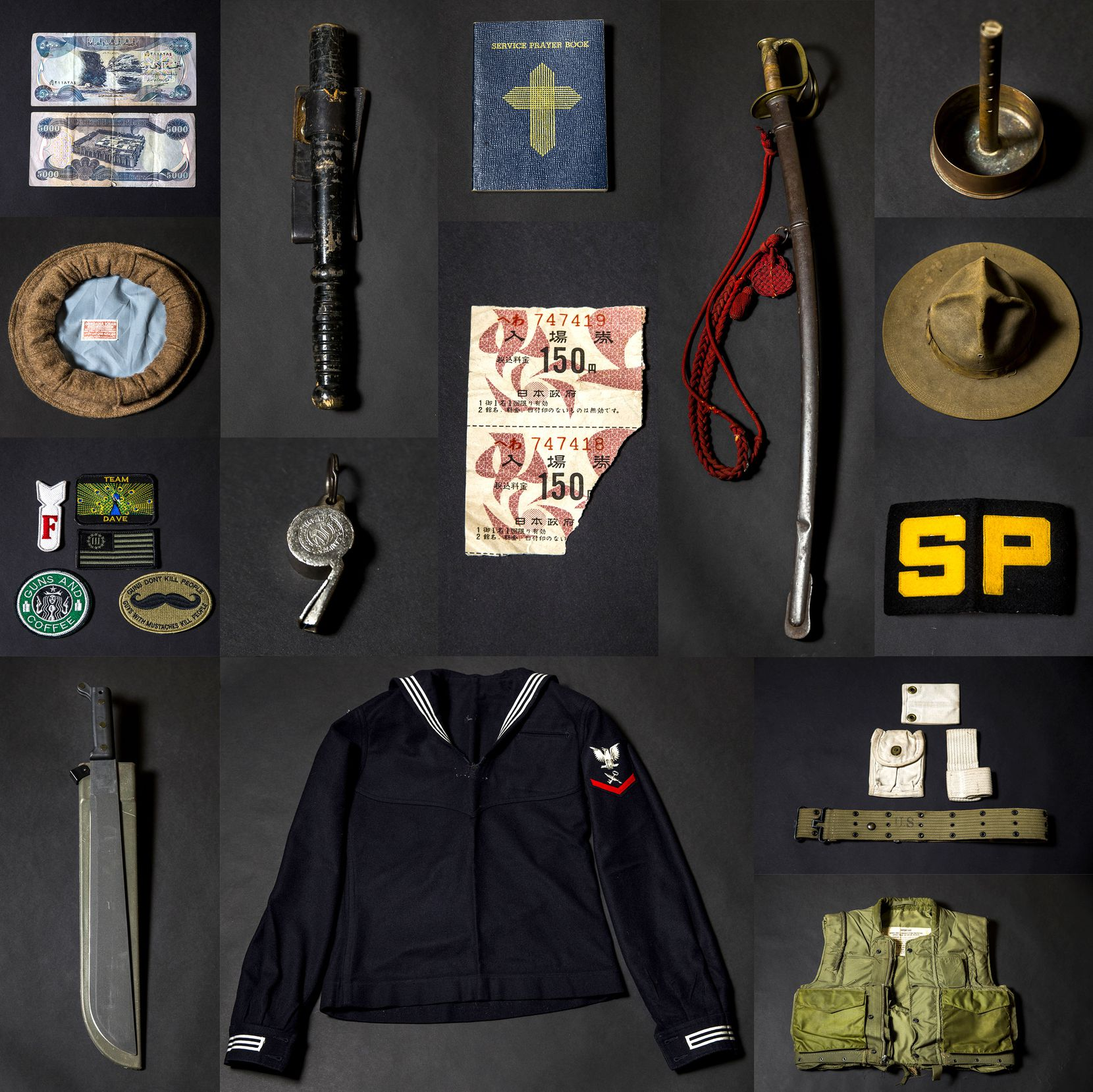 War memorabilia belonging to Andy Fancher, 18, who has filmed countless hours of interviews with veterans. Shown are items from Iraq, Vietnam, WWII and the Civil War.
