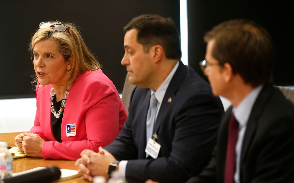 Lillian Salerno (left), Democratic candidate for Congressional District 32, answers questions with candidates George Rodriguez (center) and Ed Meier during a meeting with The Dallas Morning News editorial board Feb. 8, 2018.