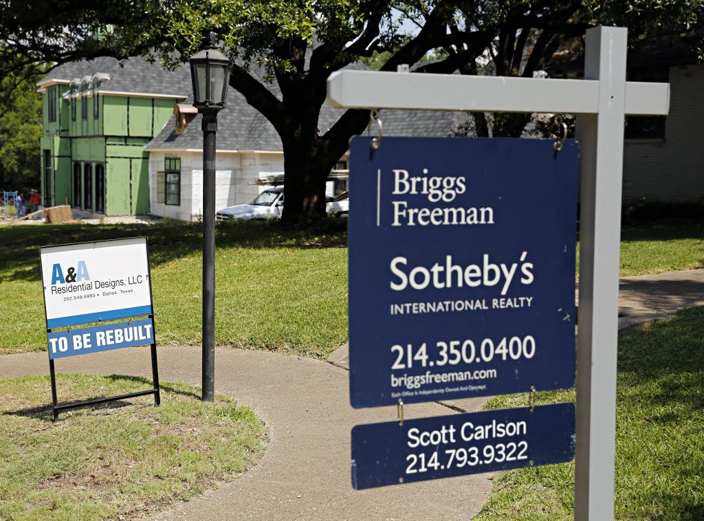 Home sale signs along the 6800 block of Westlake Avenue Thursday, June 9, 2016 in the Lakewood area of Dallas. (G.J. McCarthy/The Dallas Morning News)