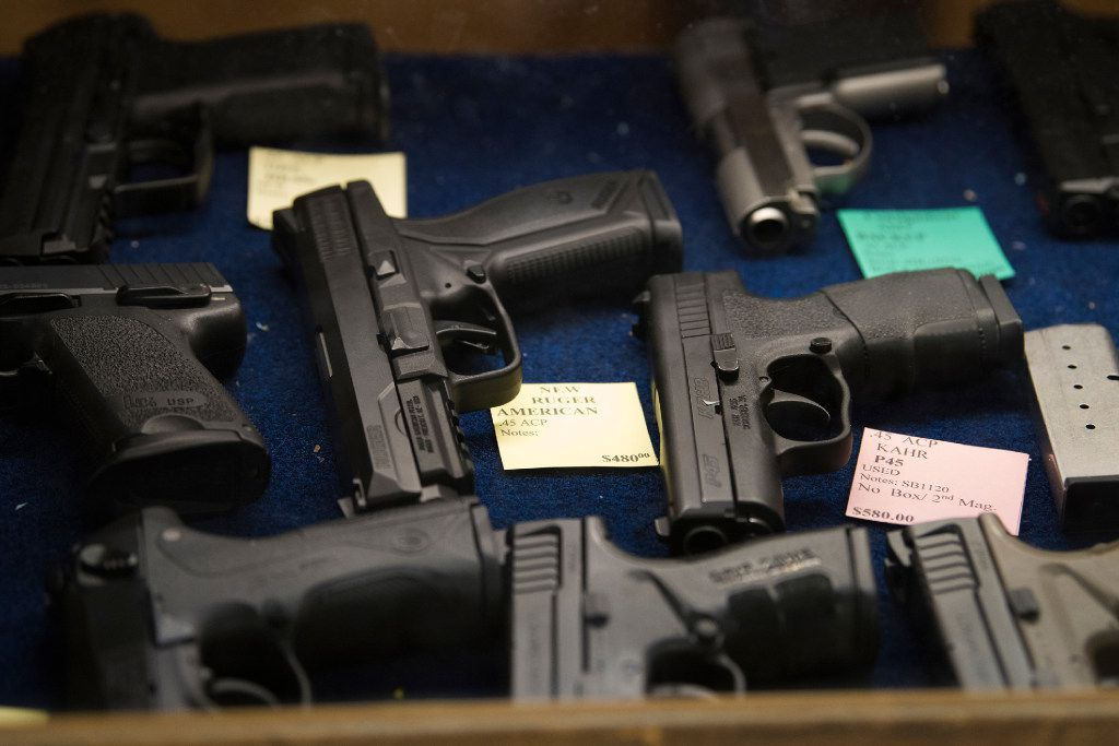 Pistols for sale at TargetMaster in Garland, Texas, on Friday. MUST CREDIT: Photo for The Washington Post by Cooper Neil