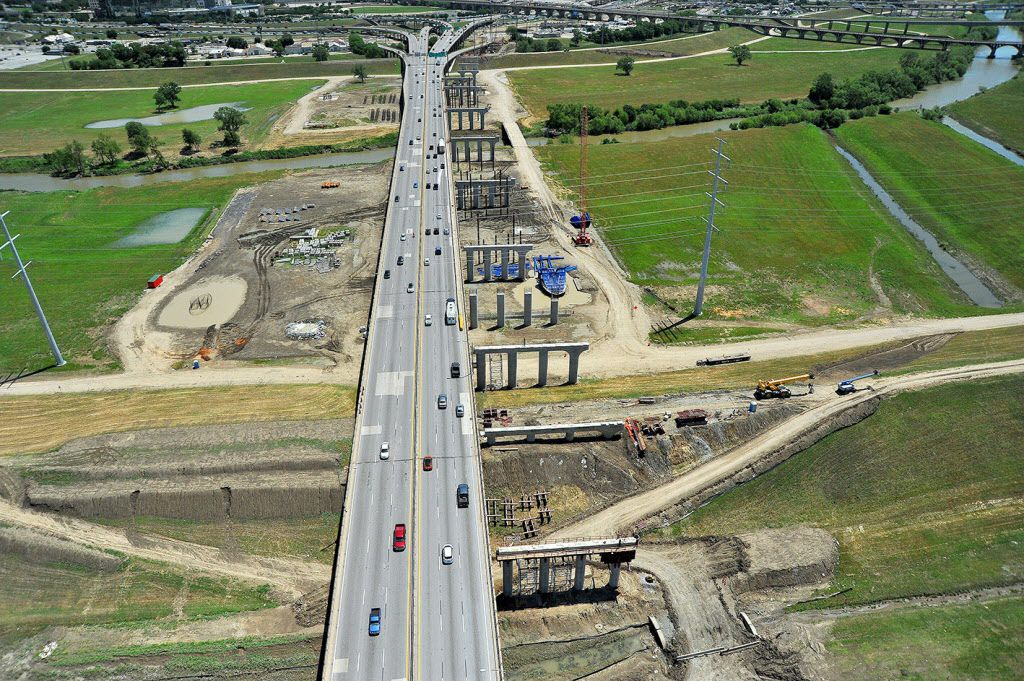 Construction crews worked last year on the new eastbound Interstate 30 bridge over the Trinity River, a part of the Dallas Horseshoe Project.