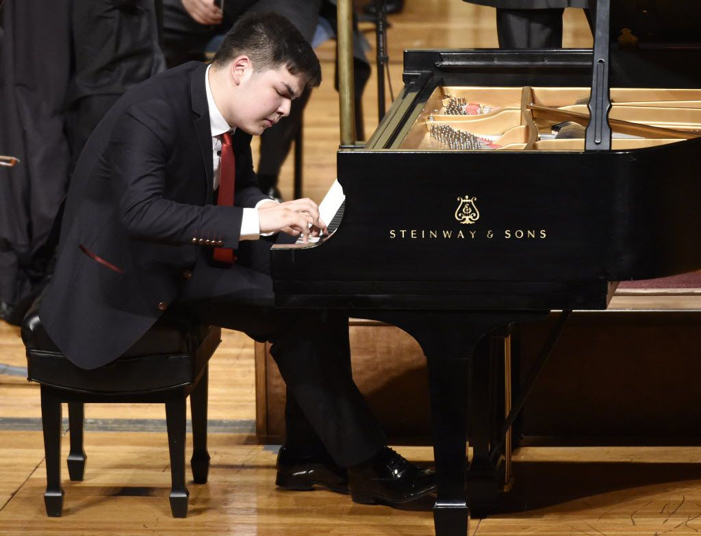 Alim Beisembayev of Kazakhstan plays Tchaikovsky's Piano Concerto No. 1 in B-flat Minor, op. 23. with conductor Mei-Ann Chen and the Fort Worth Symphony Orchestra, before being announced as winner of the first  Cliburn International Junior Piano Competition and Festival at Ed Landreth Auditorium in Fort Worth on June 28, 2015.