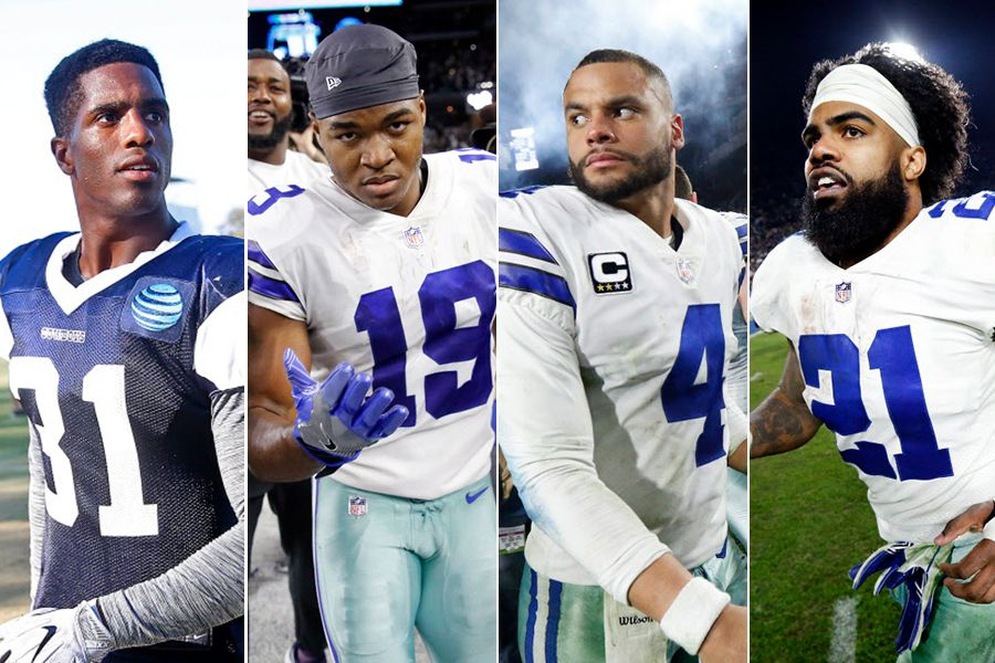 Left to right: Cowboys cornerback Byron Jones, wide receiver Amari Cooper, quarterback Dak Prescott and running back Ezekiel Elliott.