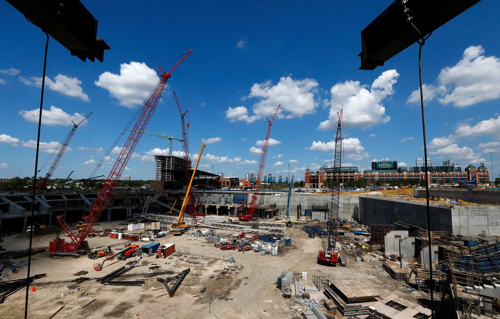 Th new Globe Life Field is under construction in Arlington, Texas, Tuesday, September 18, 2018.