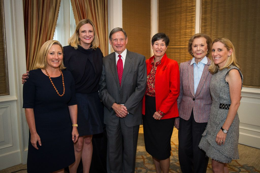 Guests at the Tocqueville luncheon Wednesday at the Crescent Hotel included (left to right) Carolyn Perot Rathjen, Jennifer Sampson, Forrest Hoglund, Lyda Hill, Ruth Altshuler and Nicole Small.