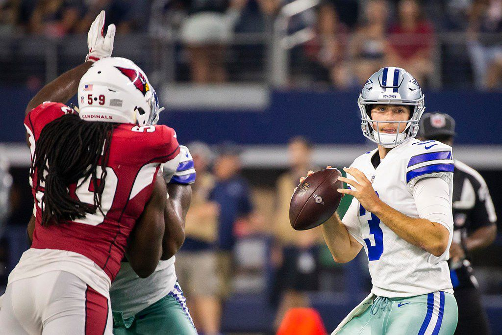Dallas Cowboys quarterback Mike White (3) throws a pass during the second half of a preseason football game against the Arizona Cardinals at AT&T Stadium on Sunday, Aug. 26, 2018, in Arlington, Texas. (Smiley N. Pool/The Dallas Morning News)