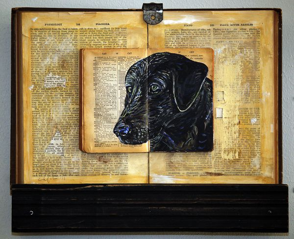 James Chefchis, 61, of Dallas, is an artist who specializes in pet portraits for which he uses books as a canvas. Some of his work is on display at B Gover Limited home and antiques store on Slocum Street near downtown Dallas on Saturday, June 16, 2012.