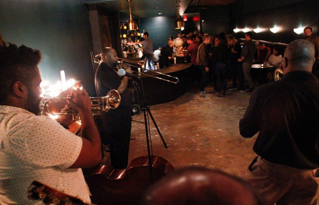 The band Congo Square featuring Gaika James performs at Revelers Hall in Bishop Arts neighborhood in Dallas on Saturday, March 09, 2019.