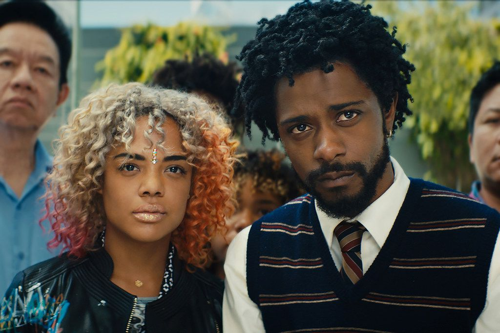 """Tessa Thompson as Detroit and Lakeith Stanfield as Cassius Green star in director Boots Riley's """"Sorry to Bother You."""""""