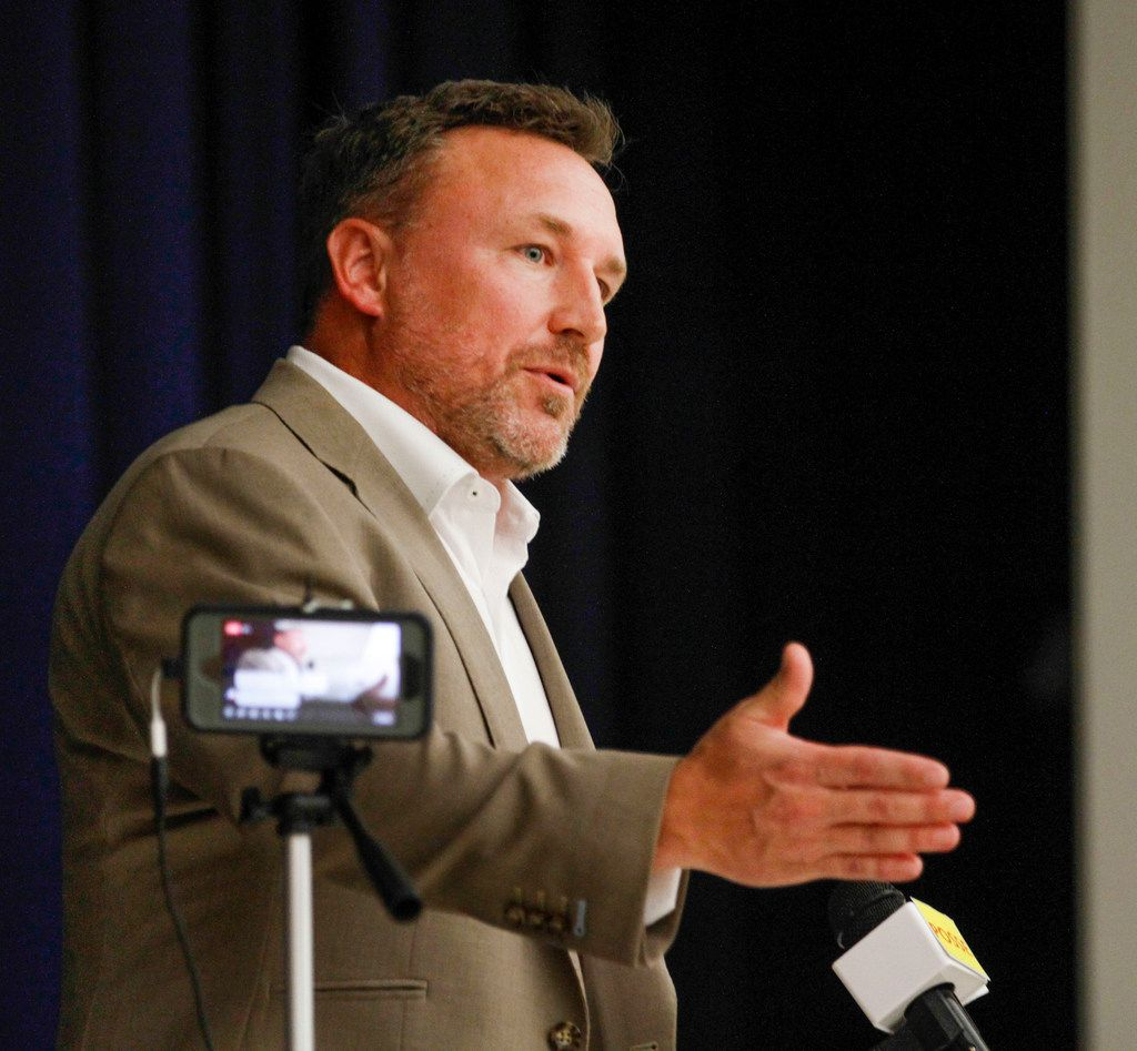 Will Wiggins of North Texas Property Tax Services speaks  at a property tax seminar held by The Watchdog in the auditorium of Robert Cobb Middle School in Frisco on May 1, 2019.