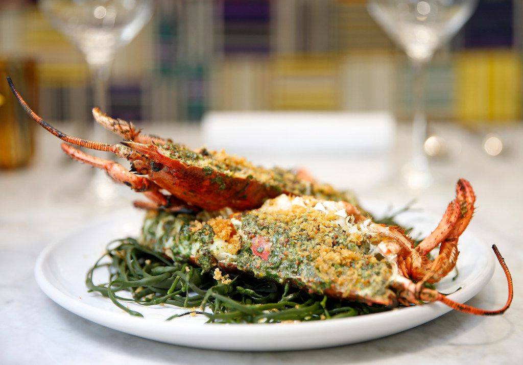 Grilled whole lobster at Mirador, the new restaurant atop Forty Five Ten on Main in downtown Dallas (Jae S. Lee/The Dallas Morning News)