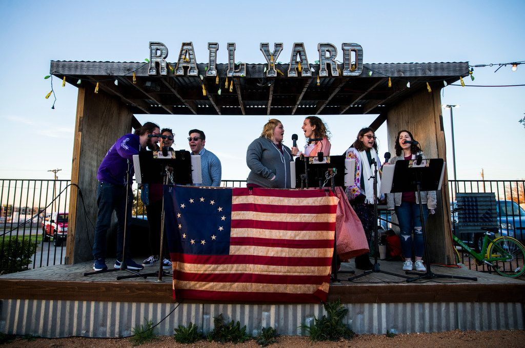 Fans of the musical Hamilton perform songs from the show during a Hamiltunes Dallas event .