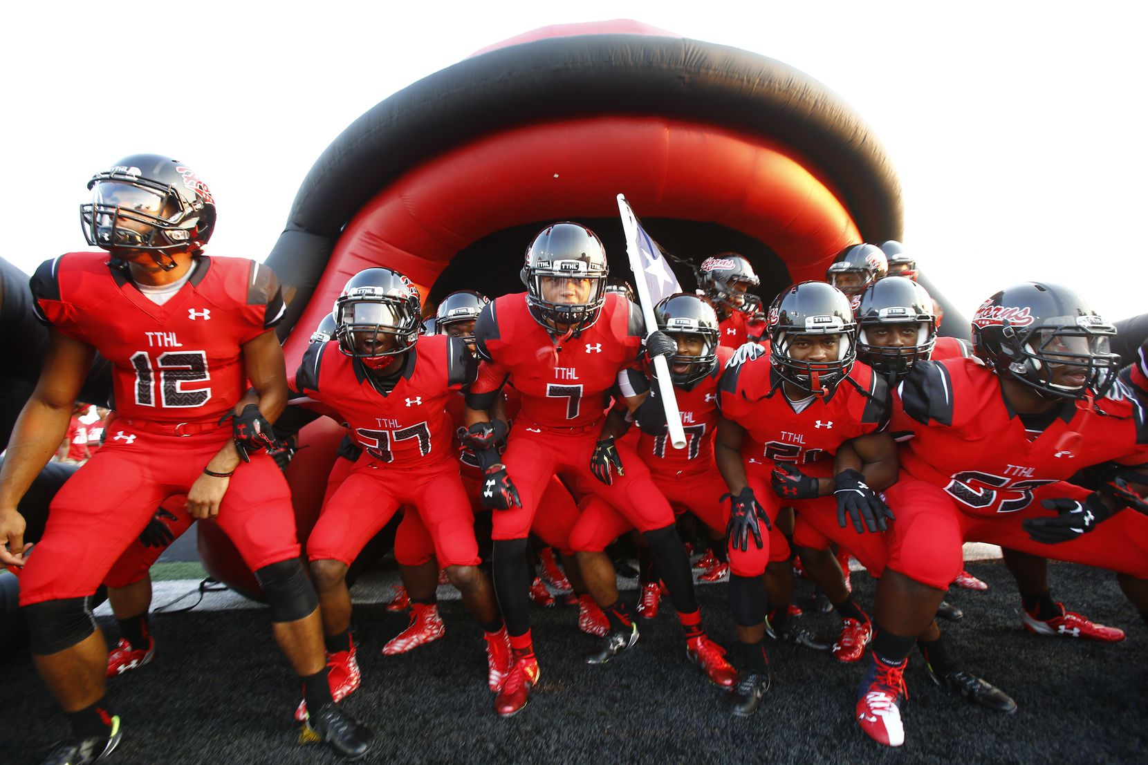 TXHSFB Cedar Hill prepares to take the field for their high school football game against South Oak Cliff in Cedar Hill, Texas, Friday, August 28, 2015. Mike Stone/Special Contributor