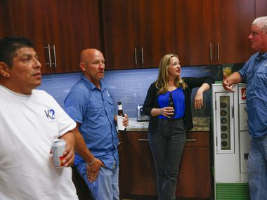 Employees gathered for a happy hour at K2 Construction.