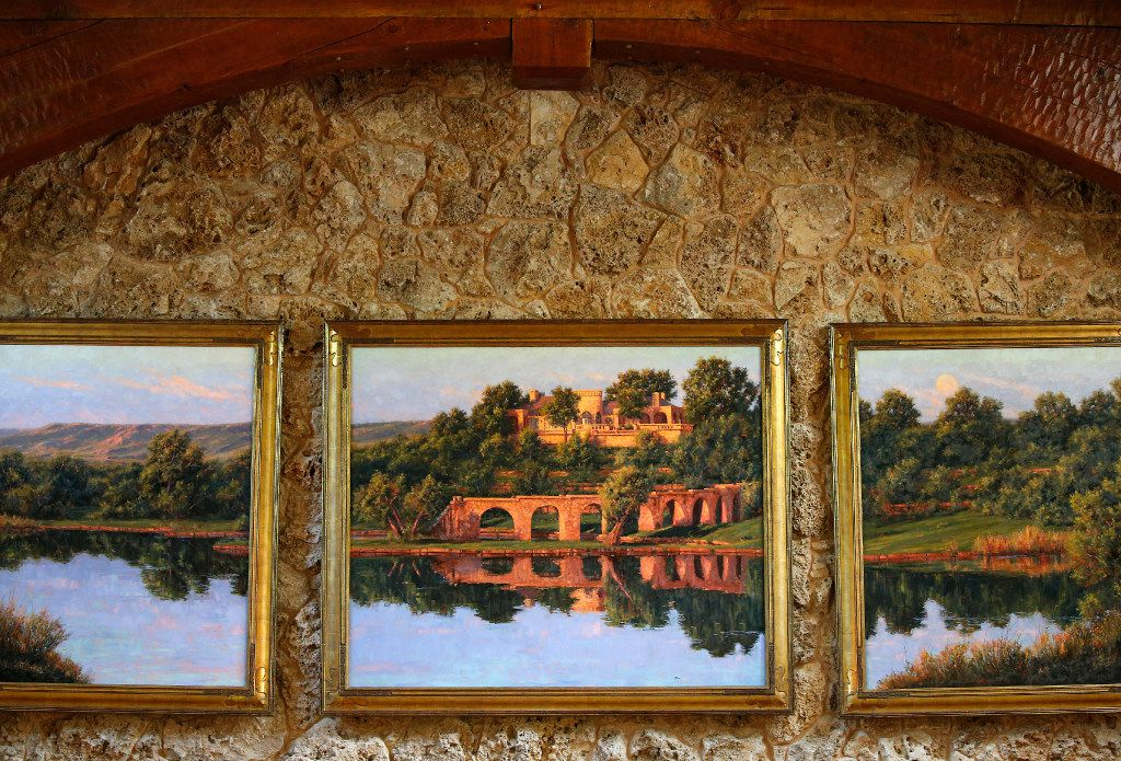A painting of The Lake House by Kenny McKenna hangs in The Lodge dining room of businessman T. Boone Pickens' Mesa Vista Ranch.